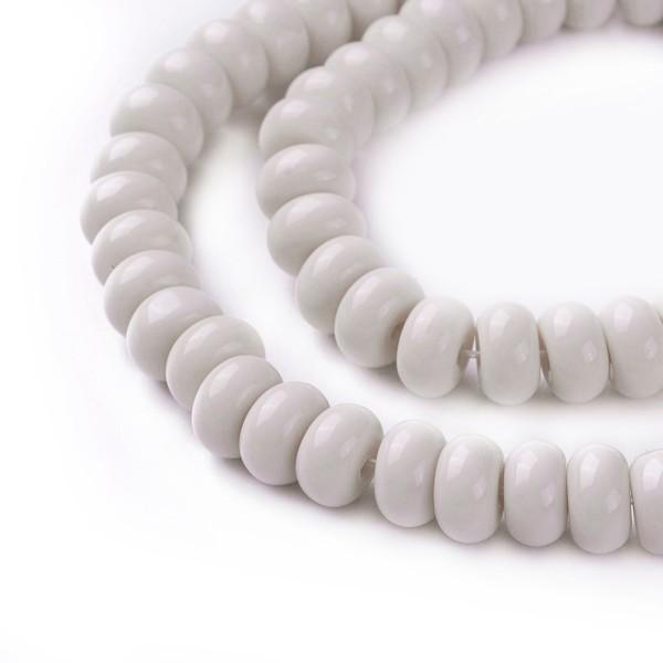 Perles en verre rondelle 8 mm beige x 20 - Photo n°2