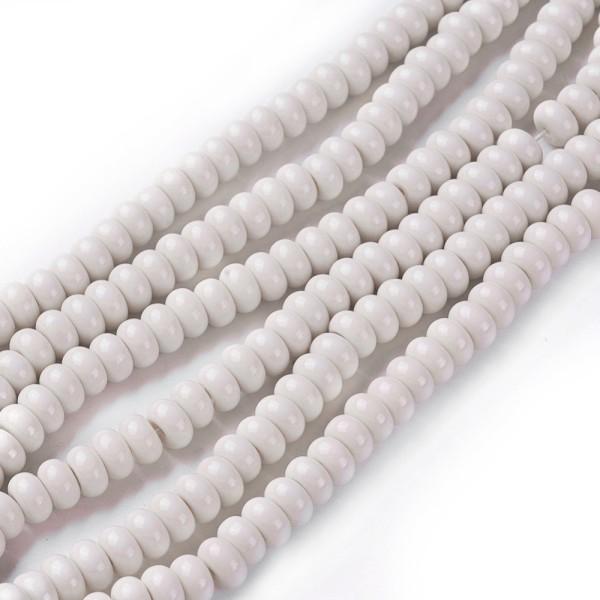 Perles en verre rondelle 8 mm beige x 20 - Photo n°3
