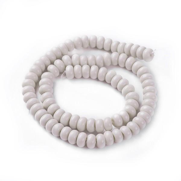 Perles en verre rondelle 8 mm beige x 20 - Photo n°1