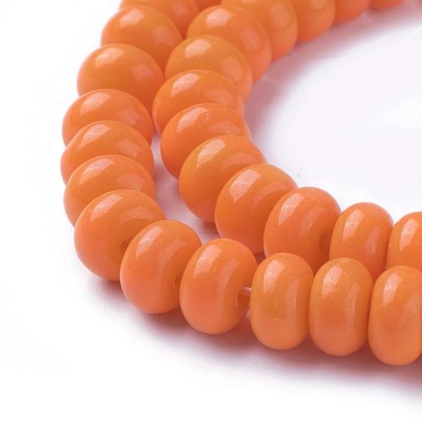 Perles en verre rondelle 8 mm orange x 20 - Photo n°2