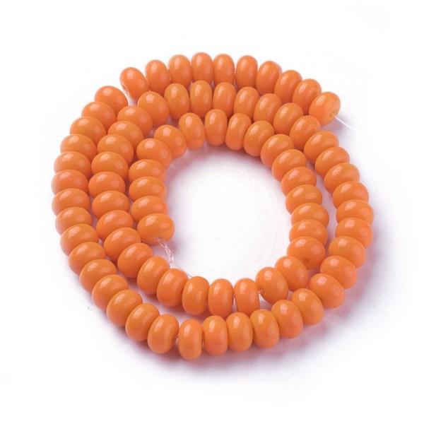 Perles en verre rondelle 8 mm orange x 20 - Photo n°1