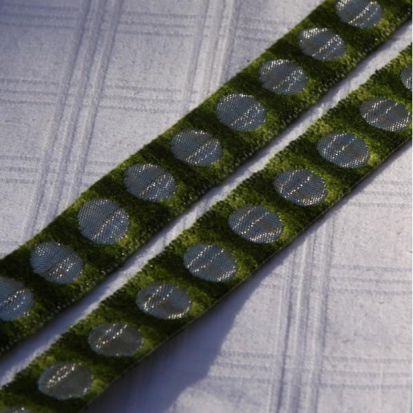 Ruban vert ton sur ton et argenté ( 2.5cm) - Photo n°2