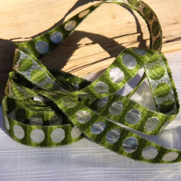 Ruban vert ton sur ton et argenté ( 2.5cm) - Photo n°3