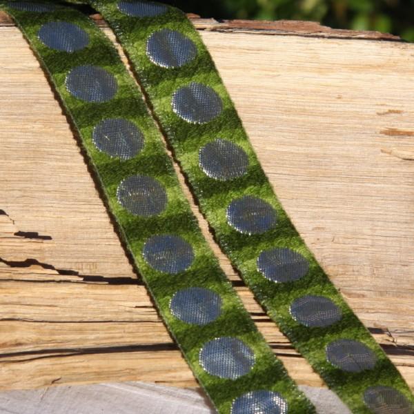 Ruban vert ton sur ton et argenté ( 2.5cm) - Photo n°1