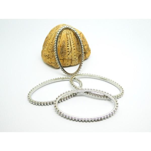 4 Connecteurs, anneaux ovales fermés 41*24mm argent platine - Photo n°1
