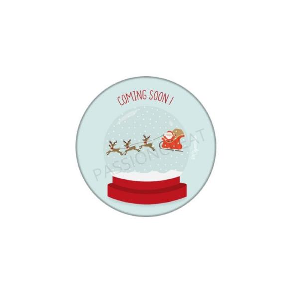 2 Cabochons Noël Boule À Neige Père Noël 25mm - Photo n°1