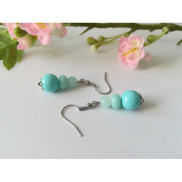 Kit boucles d'oreilles 3 perles ton bleu - Photo n°2