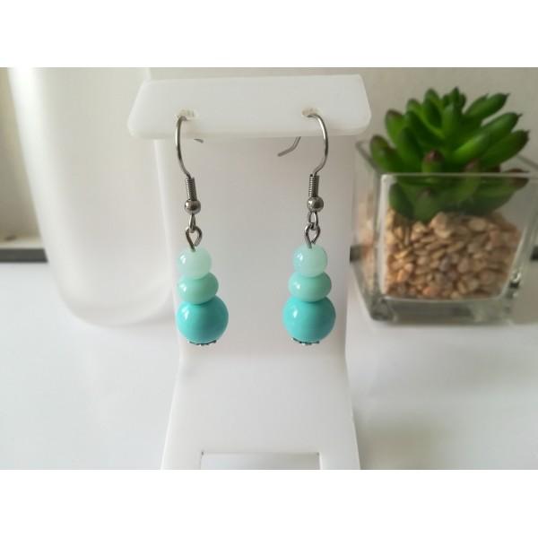 Kit boucles d'oreilles 3 perles ton bleu - Photo n°1