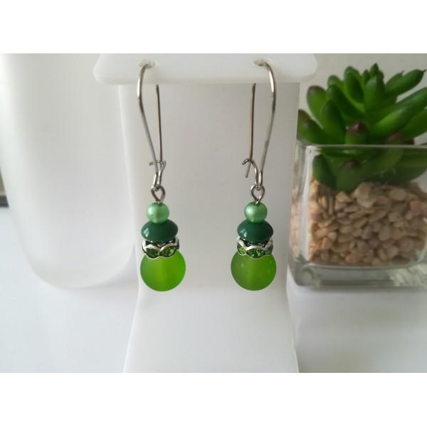 Kit boucles d'oreilles 3 perles ton vert et rondelle strass - Photo n°1