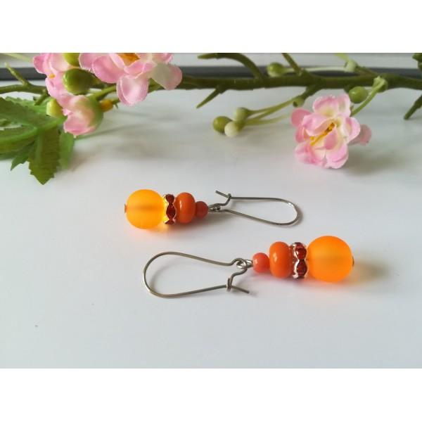 Kit boucles d'oreilles 3 perles ton orange et rondelle strass - Photo n°2