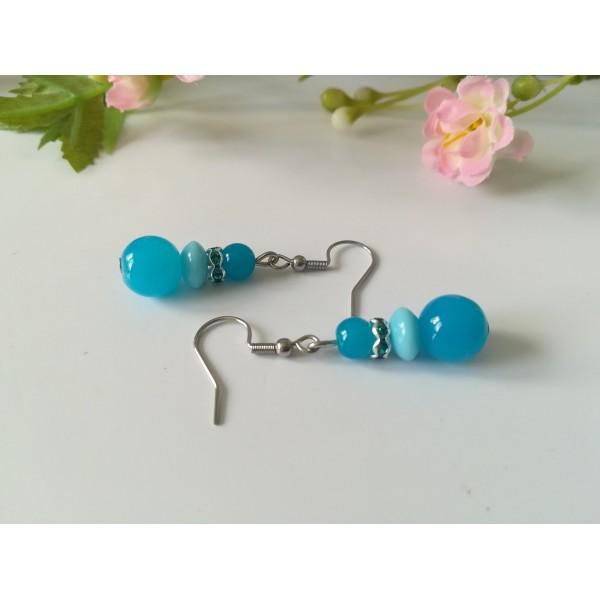 Kit boucles d'oreilles 3 perles ton bleu et rondelle strass - Photo n°2