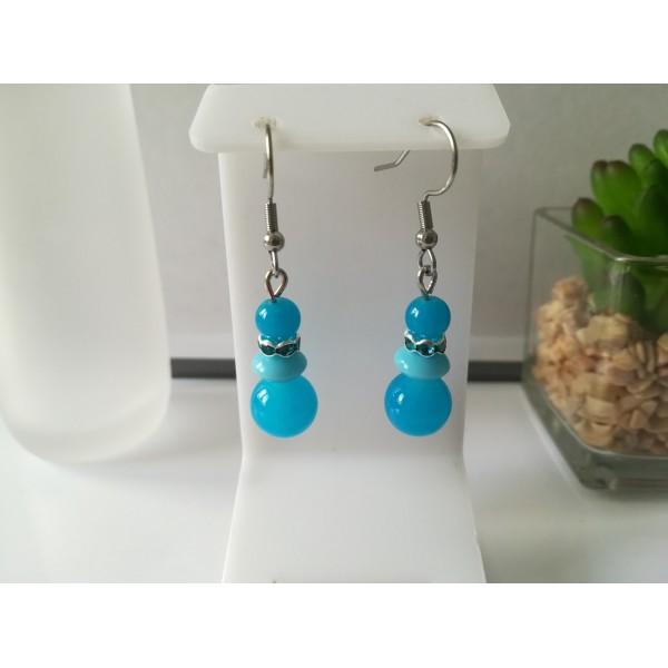 Kit boucles d'oreilles 3 perles ton bleu et rondelle strass - Photo n°1