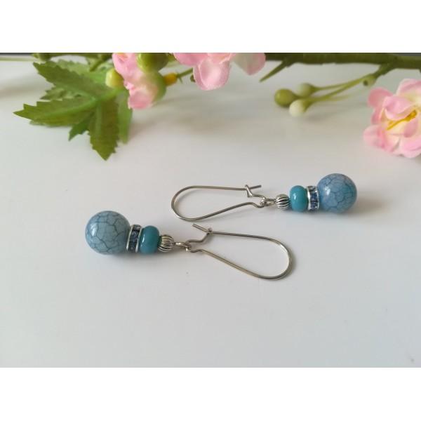 Kit boucles d'oreilles perles ton bleu jean et rondelle strass - Photo n°2