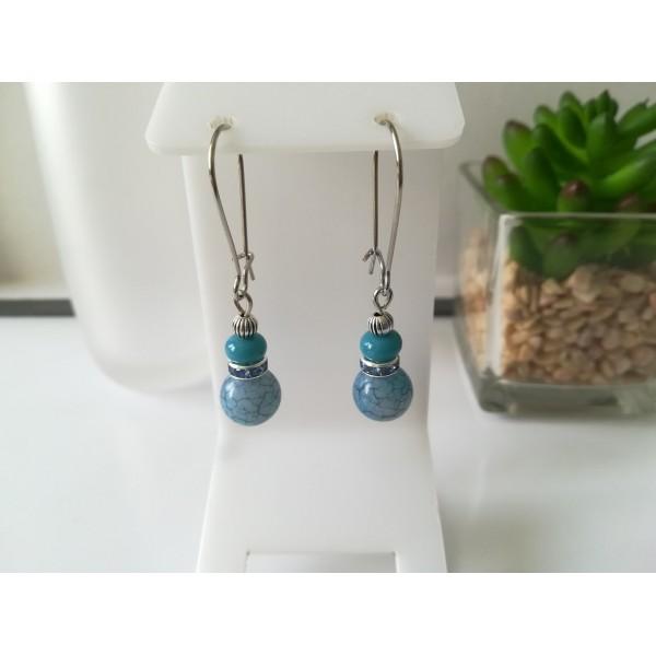 Kit boucles d'oreilles perles ton bleu jean et rondelle strass - Photo n°1