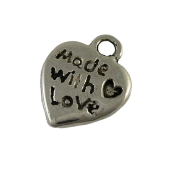 Cœurs Made With Love 10 Breloques Argenté 12x10 mm - Photo n°1