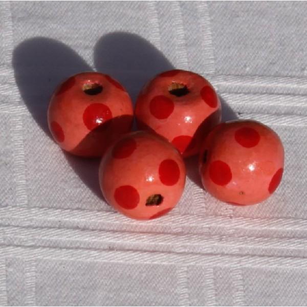 Perles rondes, roses en bois (1.5 cm) - Photo n°2