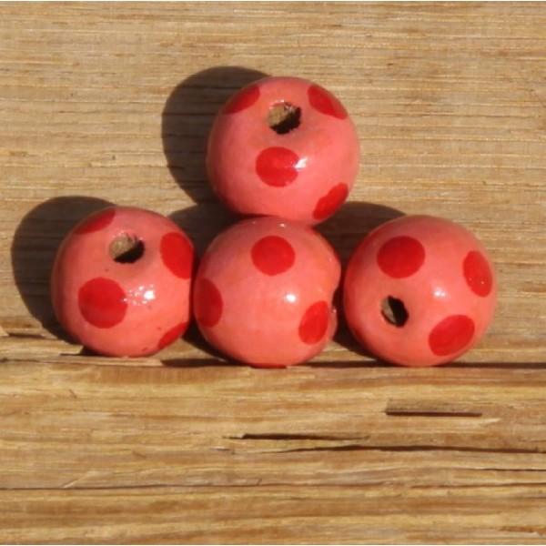 Perles rondes, roses en bois (1.5 cm) - Photo n°1