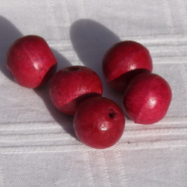 Lot de 5 perles rondes roses fuchia de 16 mm de diamètre - Photo n°2