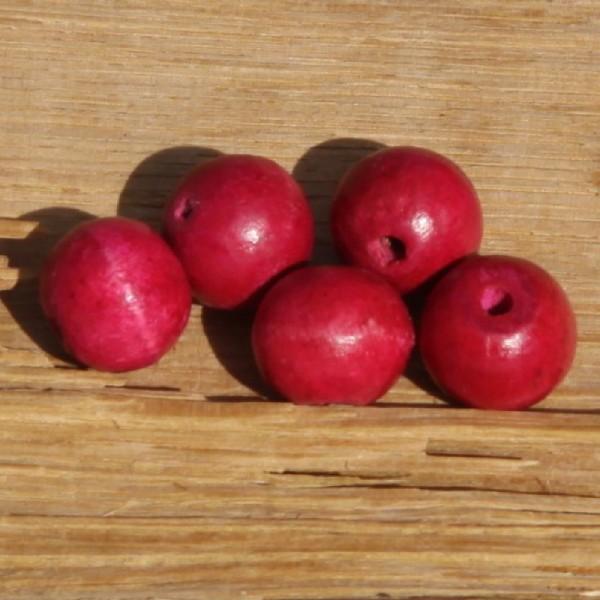 Lot de 5 perles rondes roses fuchia de 16 mm de diamètre - Photo n°1