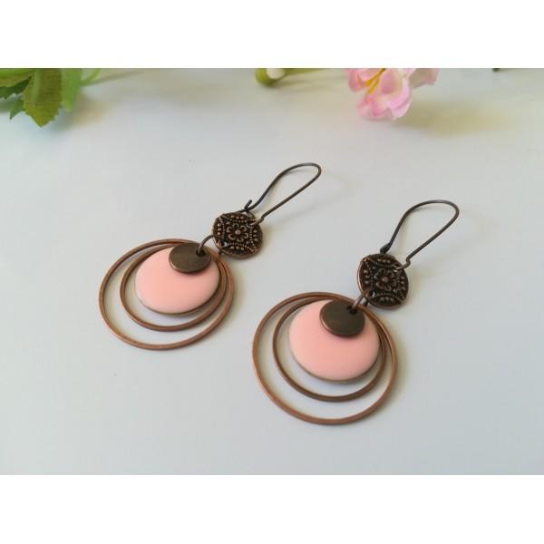 Kit boucles d'oreilles anneaux cuivre rouge et sequin émail rose - Photo n°2