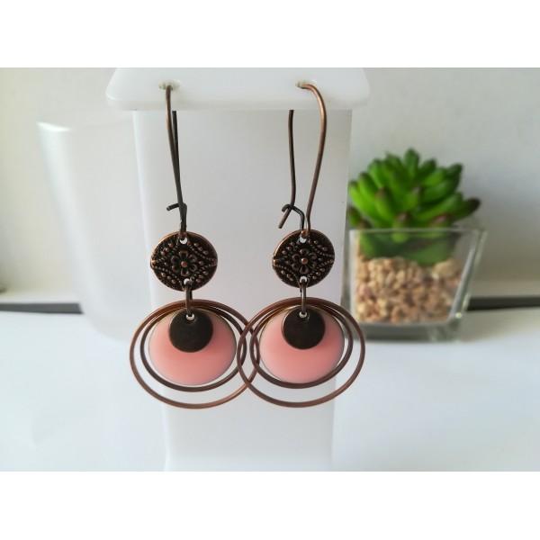 Kit boucles d'oreilles anneaux cuivre rouge et sequin émail rose - Photo n°1