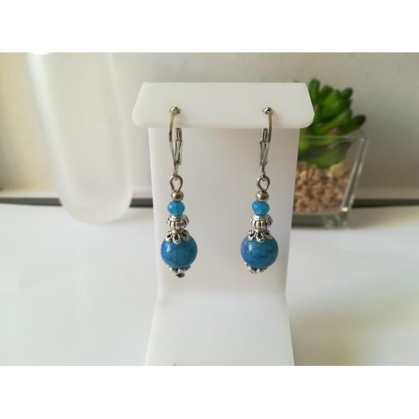 Kit de boucles d'oreilles perles tréfilées et apprêts argent mat - Photo n°1