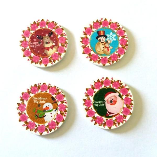 4 boutons de noel en bois – 35mm – F8 n1 - Photo n°1