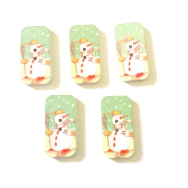 5 boutons de noel en bois – bonhomme de neige – 17x34mm – F8 - Photo n°1
