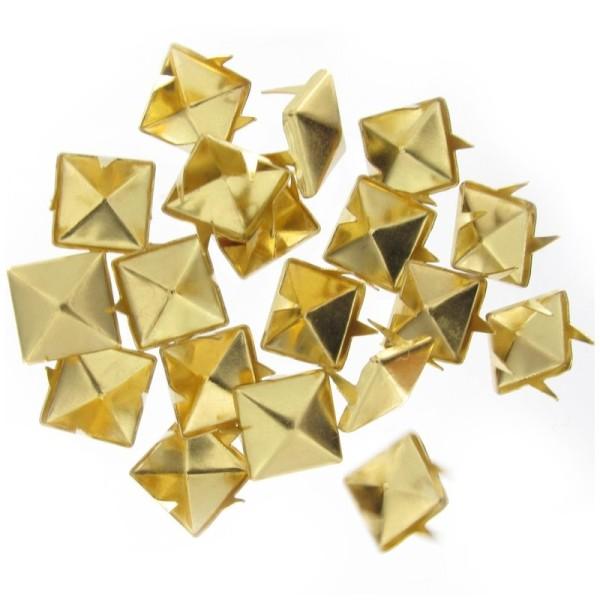 Maxi lot 100 Clous Pyramides Carré Griffe 10mm En Métal doré or - Photo n°1