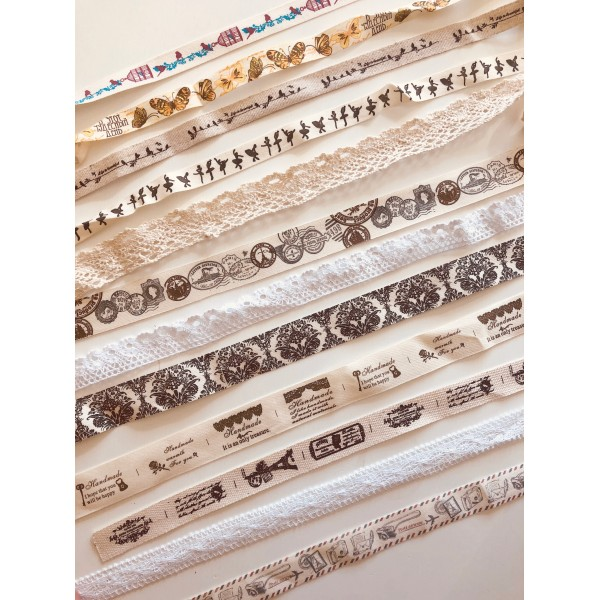Maxi lot 20 m rubans shabby chic vintage papillons ancien temps coton lin dentelle couture - Photo n°1