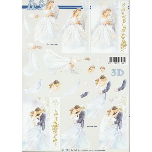 Feuille 3D à découper A4 Mariage Mariés 777-108 Le Suh - Photo n°1