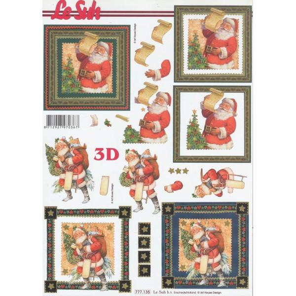 Feuille 3D à découper A4 Père Noël 777-135 Le suh - Photo n°1