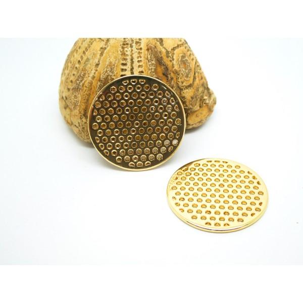 2 Breloques rondes ajourées 25mm doré - Photo n°1