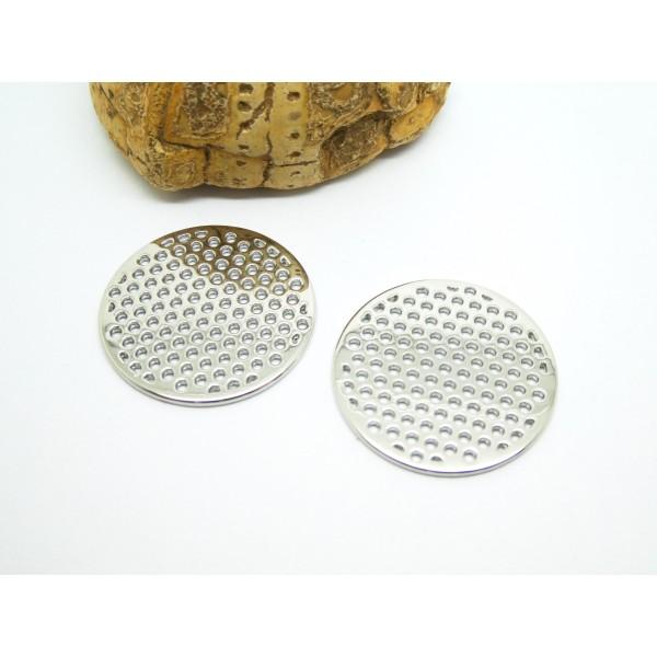 2 Breloques rondes ajourées 25mm argent platine - Photo n°1