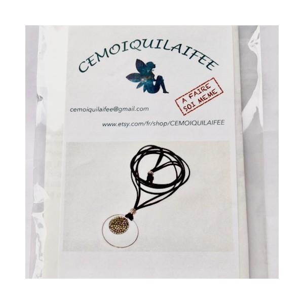 Kit collier Pendentif Cristal Rock Gris - Photo n°1
