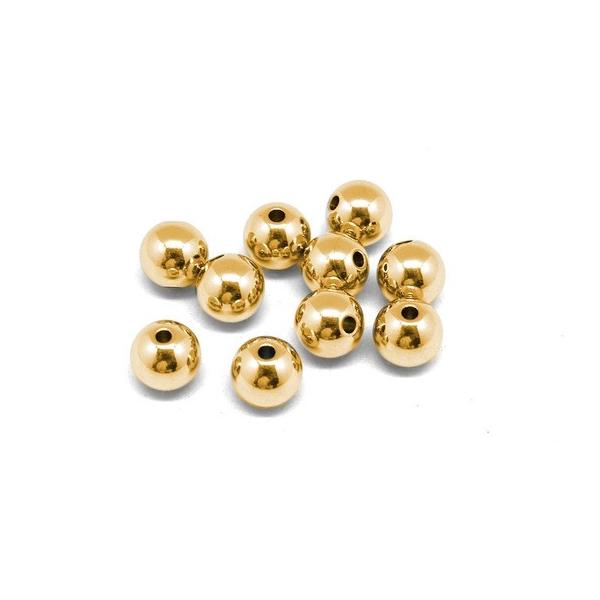10 Perles Ronde Doré 5mm En Acier Inoxydable Couleur Or - Photo n°3