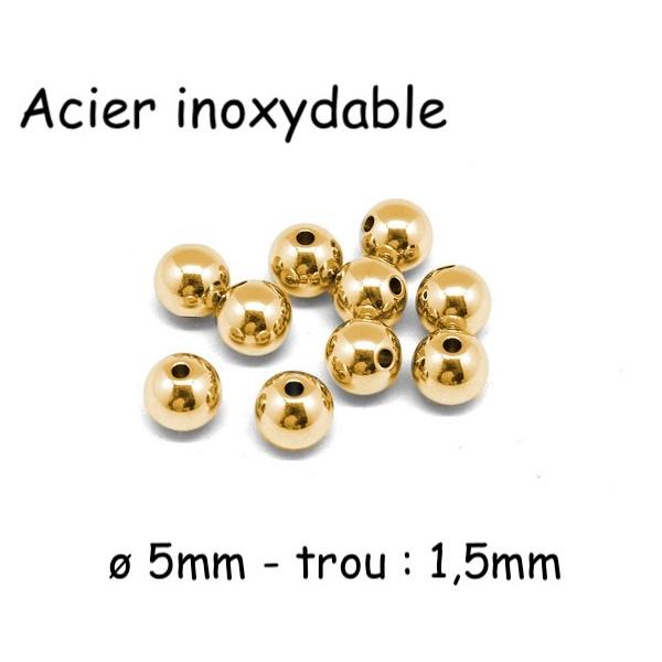 10 Perles Ronde Doré 5mm En Acier Inoxydable Couleur Or - Photo n°1