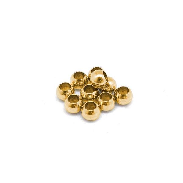15 Perles Ronde 4mm En Acier Inoxydable Doré  À Gros Trou 2mm - Photo n°2