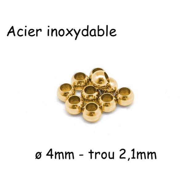 15 Perles Ronde 4mm En Acier Inoxydable Doré  À Gros Trou 2mm - Photo n°1