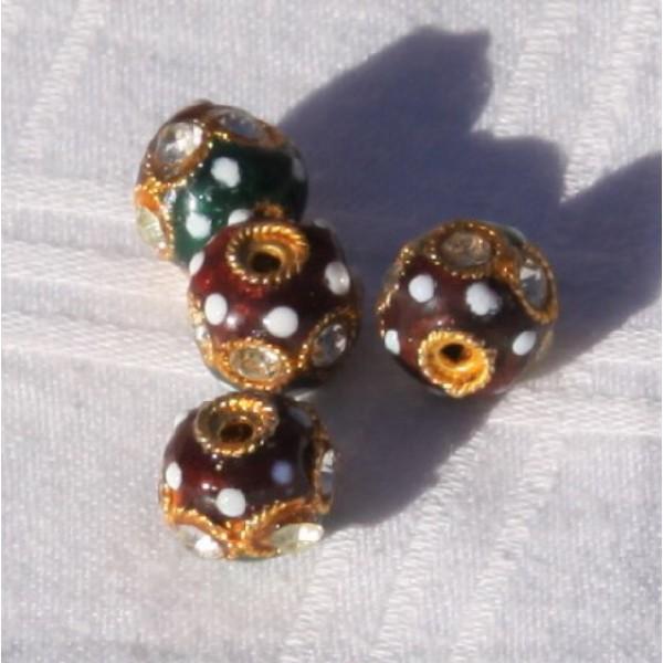 Lot de 4 perles indiennes vertes et rouges, 8mm - Photo n°2