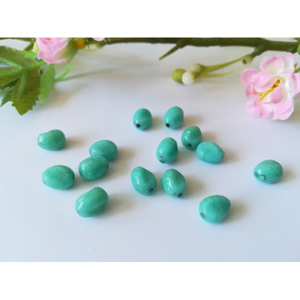Perles synthétique haricot 8.5 mm turquoise x 10 - Photo n°1