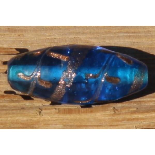 Perle en verre translucile bleue, ovale de 4 cm - Photo n°1