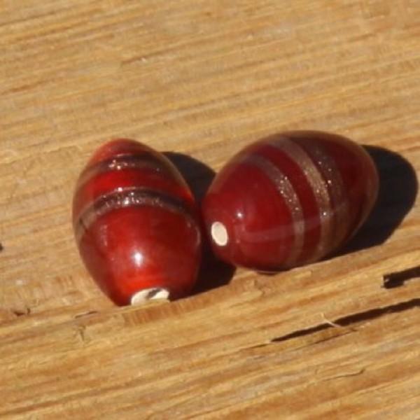 Lot de 2 perles en verre ambrées, 18 mm - Photo n°1