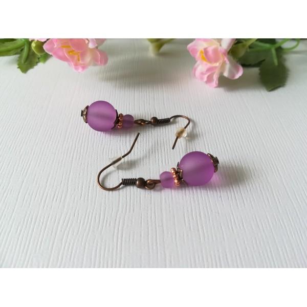 Kit boucles d'oreilles perle violette dépolie et apprêts cuivres - Photo n°2
