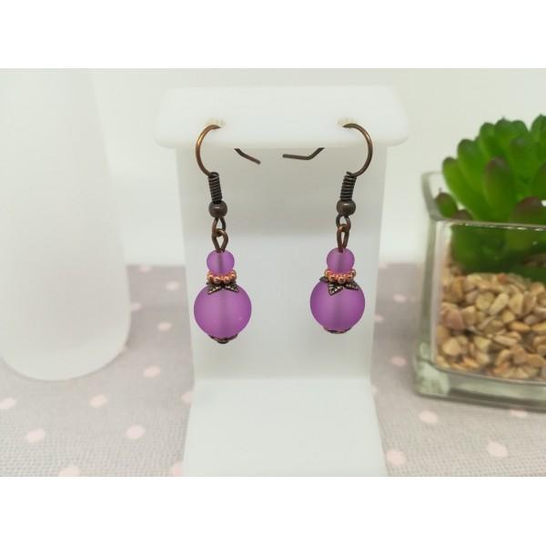Kit boucles d'oreilles perle violette dépolie et apprêts cuivres - Photo n°1