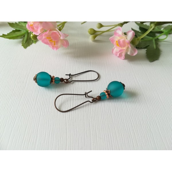 Kit boucles d'oreilles perle turquoise dépolie et apprêts cuivres - Photo n°1