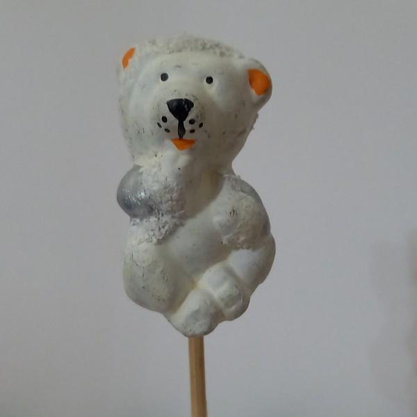 Un ours blanc assi sur son pique  en bois  Il peut se décoller, - Photo n°1