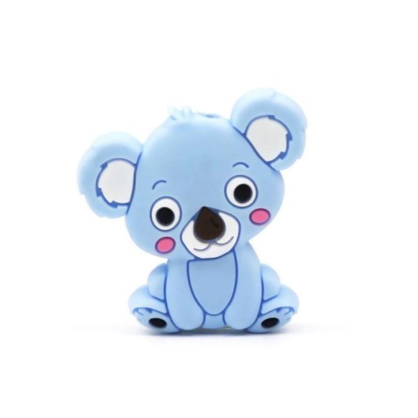 Perle Silicone Koala Bleu 28mm x 26mm Création bijoux - Photo n°1