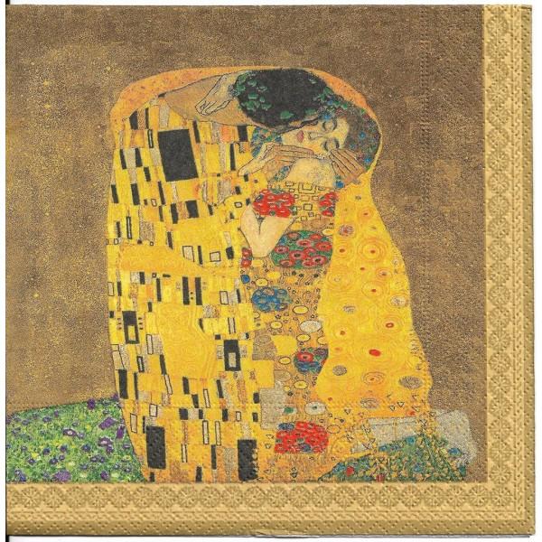 4 Serviettes en papier Klimt Le baiser Format Lunch 414-KLI1 Easy Life Decoupage - Photo n°1