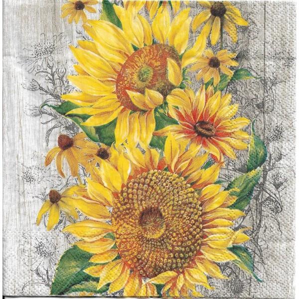 4 Serviettes en papier Le Tournesol Fleurs Format Lunch Decoupage Decopatch L-827039 IHR - Photo n°2